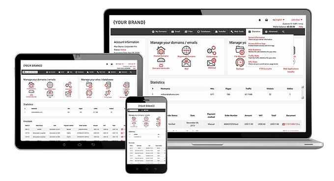 Hepsia Control Panel - fully responsive design