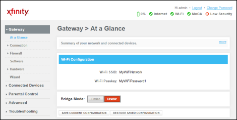 Gateway at a Glance screen with Wifi SSID and Passkey displaying.
