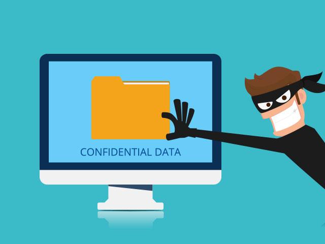 Cybersecurity hacker stealing