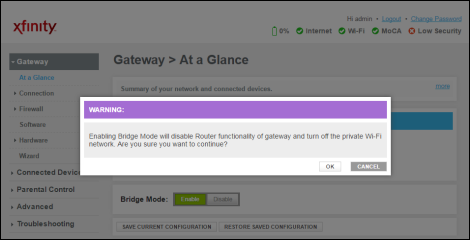 Warning dialog box informing user about Enabling Bridge mode